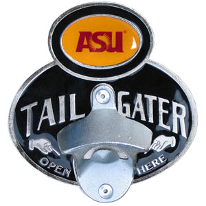Arizona St. Sun Devils Tailgater  Hitch - Our tailgater hitch cover   features a functional bottle opener and Arizona St. Sun Devils school emblem with enameled finish. Fits class II and Class III hitch covers. Thank you for shopping with CrazedOutSports.com