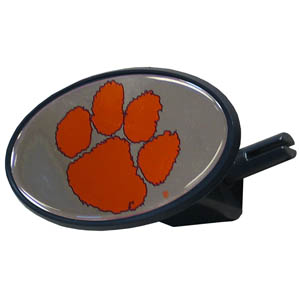 Clemson Tigers College Hitch Cover - Strong plastic hitch cover that includes hitch pin and features a Clemson Tigers logo dome. Fits class III receivers. Thank you for shopping with CrazedOutSports.com