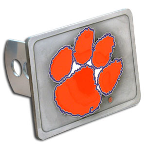 College Trailer Hitch Cover - Clemson Tigers - Our College Trailer Hitch Cover is hand painted with 3-D carved Clemson Tigers logo. Hardware included. Fits standard hitches. Enameled on durable, rust-proof zinc. Fits Class II and Class III hitches. Check out our extensive line of  automotive accessories! Thank you for shopping with CrazedOutSports.com