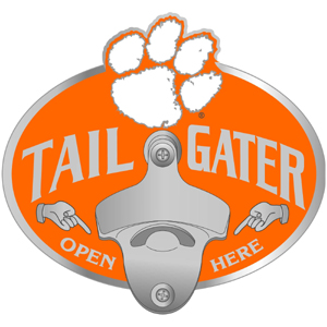 Collegiate Hitch Cover - Clemson Tigers - Our tailgater hitch cover   features a functional bottle opener and Clemson Tigers emblem with enameled finish. Thank you for shopping with CrazedOutSports.com