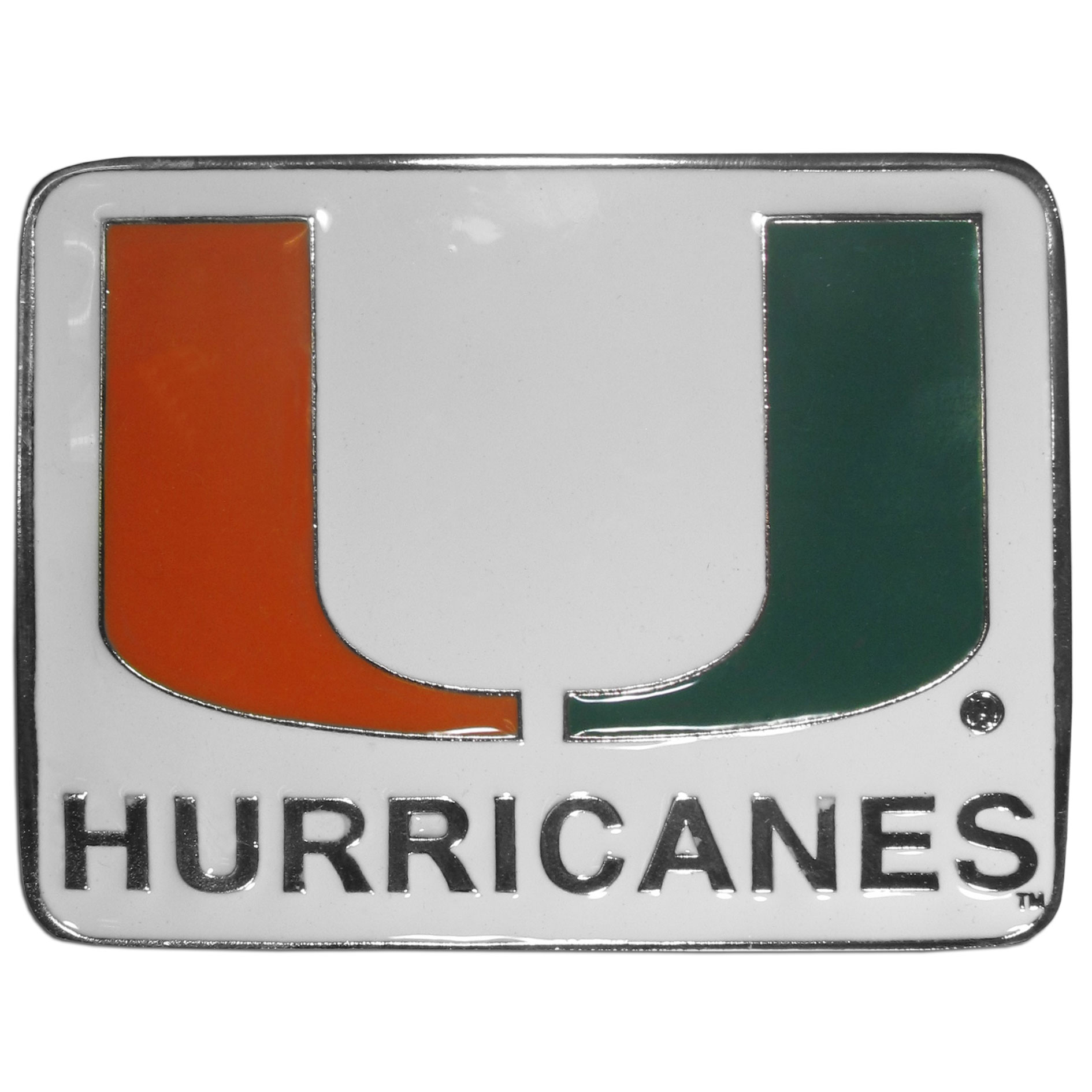 "Miami Hurricanes Collegiate Hitch Cover - Miami Hurricanes collegiate hitch cover is a durable and attractive way to show off your school spirit. The Miami Hurricanes Collegiate Hitch Cover fits a 2"" hitch receiver. Thank you for shopping with CrazedOutSports.com"