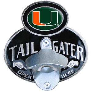 Miami Hurricanes Tailgater Hitch Cover - Miami Hurricanes Collegiate tailgater hitch cover features a functional bottle opener and school emblem with enameled finish. Miami Hurricanes Tailgater Hitch Cover fits class II and Class III hitch covers. Thank you for shopping with CrazedOutSports.com