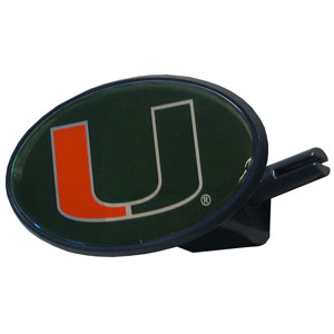 Miami Hurricanes College Hitch Cover - Strong plastic Miami Hurricanes College Hitch Cover that includes hitch pin and features a school logo dome. Miami Hurricanes College Hitch Cover fits class III receivers. Thank you for shopping with CrazedOutSports.com