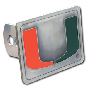 College Trailer Hitch Cover - Miami Hurricanes - Our College Trailer Hitch Cover - Miami Hurricanes is hand painted with 3-D carved logo. Hardware included. College Trailer Hitch Cover - Miami Hurricanes Enameled on durable, rust-proof zinc. Fits Class II and Class III hitches. Check out our extensive line of  automotive accessories! Thank you for shopping with CrazedOutSports.com