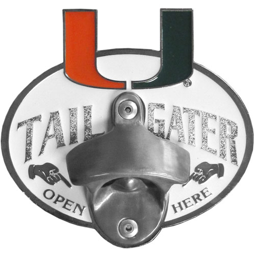 Miami Hurricanes Tailgater Hitch Cover - Miami Hurricanes tailgater hitch cover features a functional bottle opener and school emblem with enameled finish. Thank you for shopping with CrazedOutSports.com