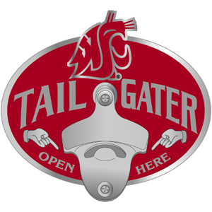 Collegiate Hitch Cover - Washington St. Cougars - Our tailgater hitch cover   features a functional bottle opener and school emblem with enameled finish. Thank you for shopping with CrazedOutSports.com