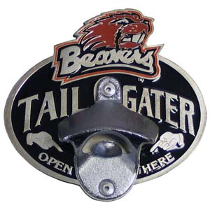 Collegiate Hitch Cover - Oregon St. Beavers - Our tailgater hitch cover   features a functional bottle opener and school emblem with enameled finish. Thank you for shopping with CrazedOutSports.com