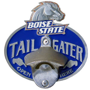 Collegiate Hitch Cover - Boise St. Broncos - Our tailgater hitch cover   features a functional bottle opener and Boise State Broncos school emblem with enameled finish. Thank you for shopping with CrazedOutSports.com