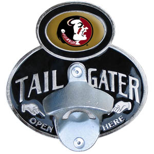 Florida State Seminoles Tailgater   Hitch Cover - Our tailgater hitch cover  features a functional bottle opener and Florida State Seminoles emblem with enameled finish. Fits class II and Class III hitch covers. Thank you for shopping with CrazedOutSports.com
