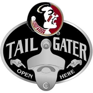 Collegiate Hitch Cover - Florida St. Seminoles - Our Florida State Seminoles tailgater hitch cover features a functional bottle opener and Florida State Seminoles emblem with enameled finish. Thank you for shopping with CrazedOutSports.com