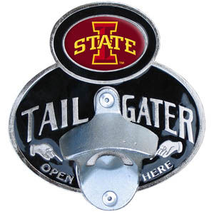 Iowa St. Cyclones Tailgater Hitch - This Iowa St. Cyclones tailgater hitch cover  features a functional bottle opener and Iowa St. Cyclones emblem with enameled finish. Fits class II and Class III hitch covers. Thank you for shopping with CrazedOutSports.com