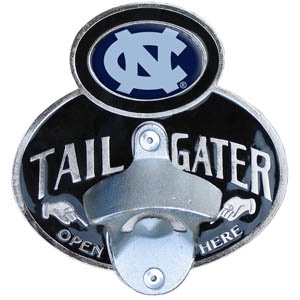 N. Carolina Tailgater  Hitch - Our tailgater hitch cover   features a functional bottle opener and school emblem with enameled finish. Fits class II and Class III hitch covers. Thank you for shopping with CrazedOutSports.com
