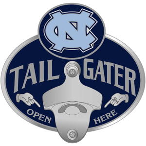 Collegiate Hitch Cover - N. Carolina Tar Heels - Our tailgater hitch cover   features a functional bottle opener and school emblem with enameled finish. Thank you for shopping with CrazedOutSports.com