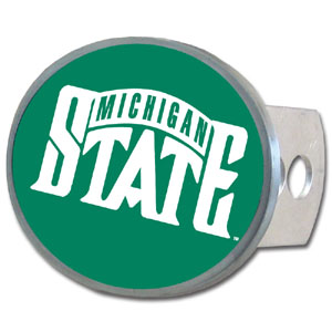 Michigan St. Spartans Oval Hitch Cover - This officially licensed collegiate Michigan St. Spartans Oval Hitch Cover is made of durable zinc. The Michigan St. Spartans Oval Hitch Cover fits class II and class III hitch covers. Thank you for shopping with CrazedOutSports.com
