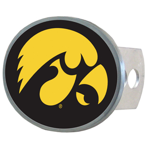 Iowa Hawkeyes Oval Hitch Cover - This officially licensed Iowa Hawkeyes collegiate oval hitch cover is made of durable zinc and fits class II and class III hitch covers. Thank you for shopping with CrazedOutSports.com