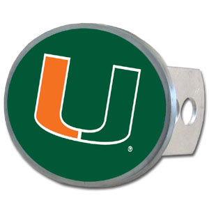 Miami Hurricanes Oval Hitch Cover - This officially licensed Miami Hurricanes Oval Hitch Cover is made of durable zinc and fits class II and class III hitch covers. Thank you for shopping with CrazedOutSports.com