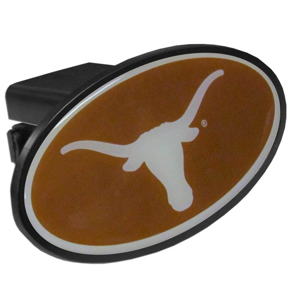 Texas Longhorns  Plastic Hitch Cover Class III - This affordable hitch cover features a large Texas Longhorns dome. The unique design requires no additional hardware for installation. It snaps easily into place on your Class III hitch receiver.