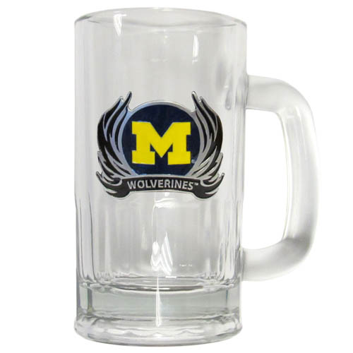 Michigan Wolverines Flame 16 oz Tankard - This classic 16 oz collegiate Michigan Wolverines Flame 16 oz Tankard brew mug featuring a cast & enameled Michigan Wolverines emblem. Thank you for shopping with CrazedOutSports.com