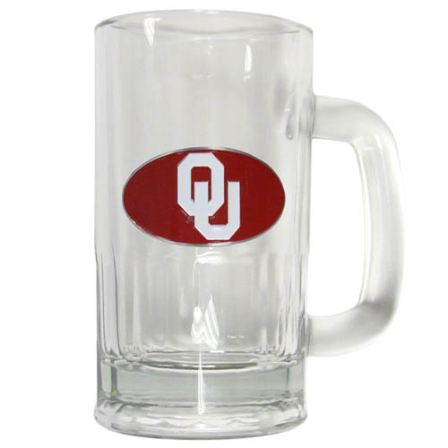 Oklahoma 16 oz Tankard - Classic 16 oz collegiate brew mug featuring a cast & enameled Oklahoma Sooners emblem. Thank you for shopping with CrazedOutSports.com