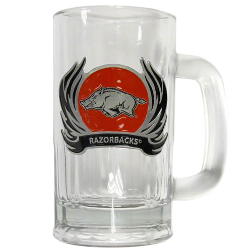 Arkansas Razorbacks Flame 12 oz Tankard - Classic 12 oz collegiate brew mug featuring a cast & enameled Arkansas Razorbacks emblem. Thank you for shopping with CrazedOutSports.com