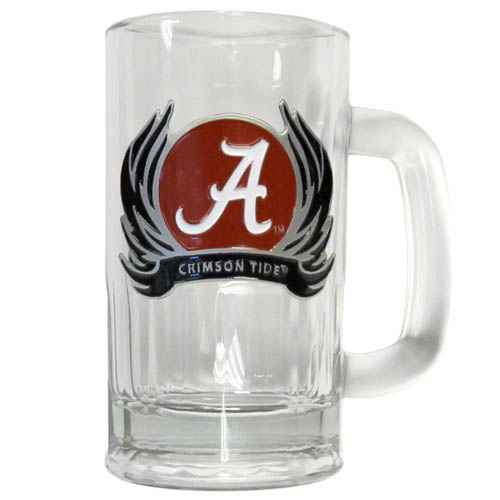 Alabama Crimson Tide  Flame 12 oz Tankard - Classic 12 oz collegiate brew mug featuring a cast & enameled Alabama Crimson Tide emblem. Thank you for shopping with CrazedOutSports.com