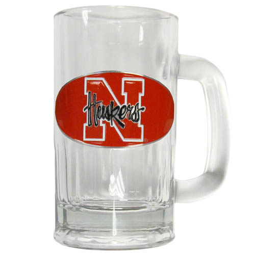 Nebraska 12 oz Tankard - Classic 12 oz collegiate brew mug featuring a cast & enameled Nebraska Cornhuskers emblem. Thank you for shopping with CrazedOutSports.com