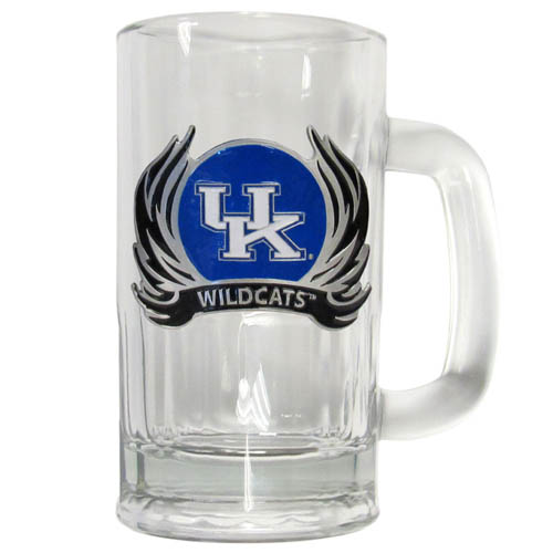 Kentucky Flame 12 oz Tankard - Classic 12 oz collegiate brew mug featuring a cast & enameled Kentucky Wildcats emblem. Thank you for shopping with CrazedOutSports.com
