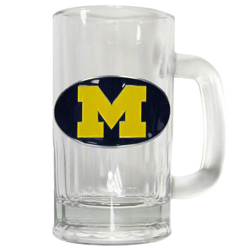 Michigan Wolverines 12 oz Glass Tankard - Classic Michigan Wolverines 12 oz Glass Tankard featuring a cast & enameled Michigan Wolverines emblem. Thank you for shopping with CrazedOutSports.com