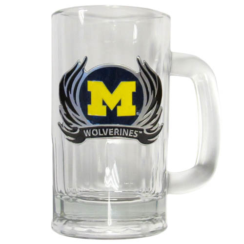 Michigan Wolverines Flame 12 oz Glass Tankard - Classic Michigan Wolverines Flame 12 oz Glass Tankard featuring a cast & enameled Michigan Wolverines emblem. Michigan Wolverines Flame 12 oz Glass Tankard with handle Thank you for shopping with CrazedOutSports.com