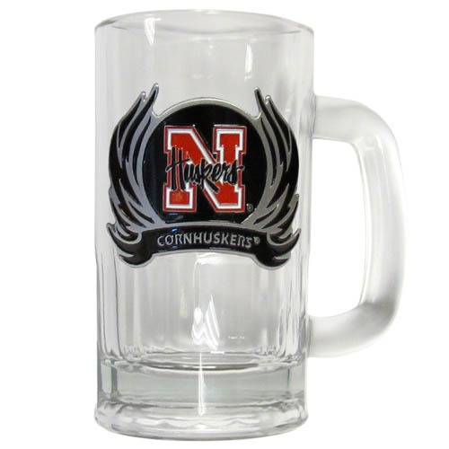 Nebraska Flame 12 oz Tankard - Classic 12 oz collegiate brew mug featuring a cast & enameled Nebraska Cornhuskers emblem. Thank you for shopping with CrazedOutSports.com