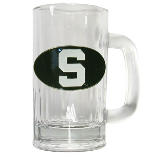 Michigan St. Spartans 12 oz Tankard - A Classic collegiate Michigan St. Spartans 12 oz Tankard brew mug featuring a cast & enameled Michigan St. Spartans emblem. Thank you for shopping with CrazedOutSports.com