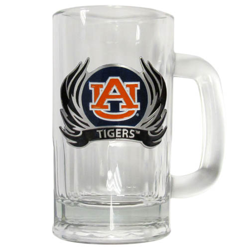 Auburn Tigers Flame 12 oz Tankard - Classic 12 oz collegiate brew mug featuring a cast & enameled Auburn Tigers emblem. Thank you for shopping with CrazedOutSports.com