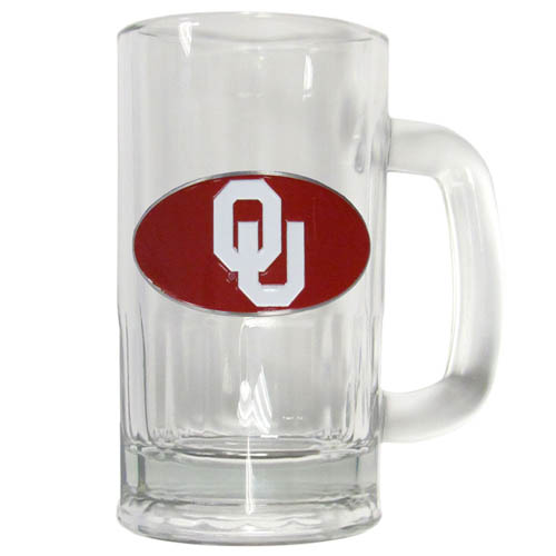 Oklahoma 12 oz Tankard - Classic 12 oz collegiate brew mug featuring a cast & enameled Oklahoma Sooners emblem. Thank you for shopping with CrazedOutSports.com