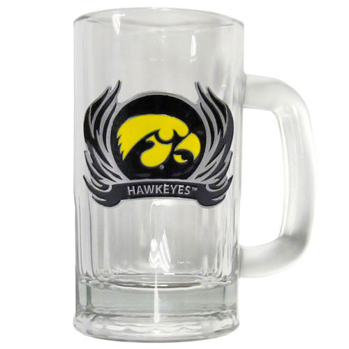 Iowa Hawkeyes Flame 12 oz Tankard - Classic Iowa Hawkeyes 12 oz collegiate brew mug featuring a cast & enameled Iowa Hawkeyes emblem. Thank you for shopping with CrazedOutSports.com