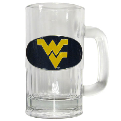 W. Virginia 12 oz Tankard - Classic 12 oz collegiate brew mug featuring a cast & enameled W. Virginia Mountaineers emblem. Thank you for shopping with CrazedOutSports.com