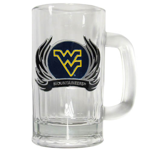W. Virginai Flame 12 oz Tankard - Classic 12 oz collegiate brew mug featuring a cast & enameled W. Virginia Mountaineers emblem. Thank you for shopping with CrazedOutSports.com
