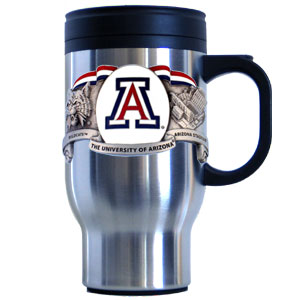 College Travel Mug - Arizona Wildcats - Our college stainless steel travel mug depicts both the Arizona Wildcats team and campus in detail with a hand enameled finish. 18 ounce capacity keeps drinks hot or cold. Check out our entire line of  Arizona Wildcats college merchandise! Thank you for shopping with CrazedOutSports.com