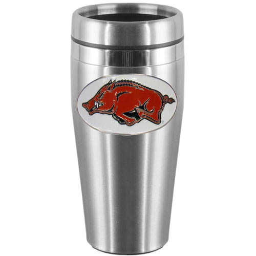 Arkansas Razorbacks Steel Travel Mug - Show off your Arkansas Razorbacks school pride with this 14 oz stainless steel lidded travel mug with brushed finish. The mug features a cast & enameled Arkansas Razorbacks emblem. Thank you for shopping with CrazedOutSports.com