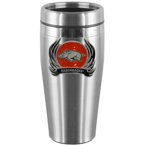 Arkansas Razorbacks Flame Steel Travel Mug - Show off your Arkansas Razorbacks school pride with this 14 oz stainless steel lidded travel mug with brushed finish. The mug features a cast & enameled Arkansas Razorbacks emblem. Thank you for shopping with CrazedOutSports.com