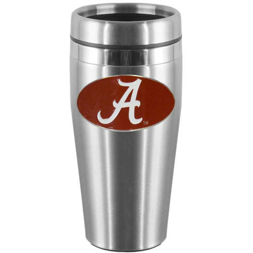 Alabama Crimson Tide Steel Travel Mug - Show off your Alabama Crimson Tide school pride with this 14 oz stainless steel lidded travel mug with brushed finish. The mug features a cast & enameled Alabama Crimson Tide emblem. Thank you for shopping with CrazedOutSports.com