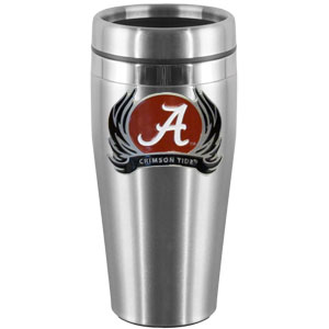 Alabama Crimson Tide Flame Steel Travel Mug - Show off your Alabama Crimson Tide school pride with this 14 oz stainless steel lidded travel mug with brushed finish. The mug features a cast & enameled Alabama Crimson Tide emblem. Thank you for shopping with CrazedOutSports.com