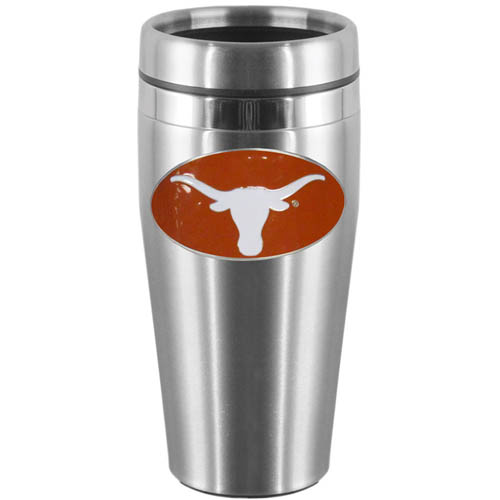 Texas Steel Travel Mug - Show off your school pride with this 14 oz stainless steel lidded travel mug with brushed finish. The mug features a cast & enameled Texas Longhorns emblem. Thank you for shopping with CrazedOutSports.com