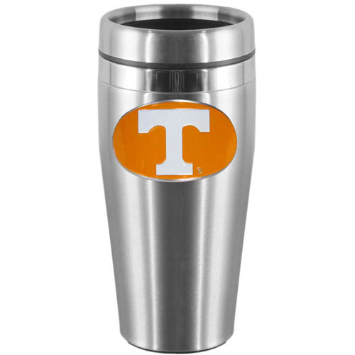 Tennessee Steel Travel Mug - Show off your school pride with this 14 oz stainless steel lidded travel mug with brushed finish. The mug features a cast & enameled Tennessee Volunteers emblem. Thank you for shopping with CrazedOutSports.com
