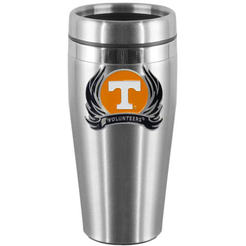 Tennessee Flame Steel Travel Mug - Show off your school pride with this 14 oz stainless steel lidded travel mug with brushed finish. The mug features a cast & enameled Tennessee Volunteers emblem. Thank you for shopping with CrazedOutSports.com