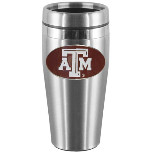 Texas A and M  Steel Travel Mug - Show off your school pride with this 14 oz stainless steel lidded travel mug with brushed finish. The mug features a cast & enameled Texas A & M Aggies emblem. Thank you for shopping with CrazedOutSports.com