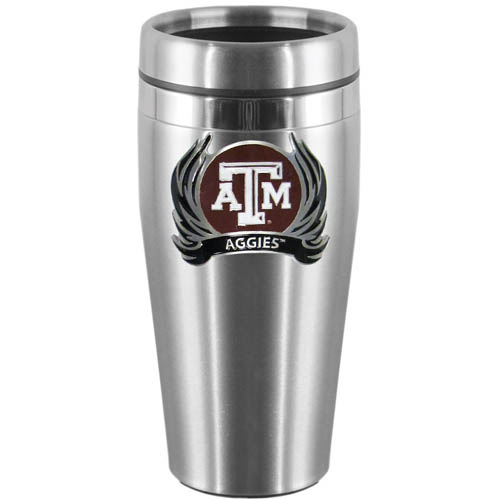 Texas AandM Flame Steel Travel Mug - Show off your school pride with this 14 oz stainless steel lidded travel mug with brushed finish. The mug features a cast & enameled Texas A & M Aggies emblem. Thank you for shopping with CrazedOutSports.com