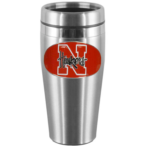 Nebraska Steel Travel Mug - Show off your school pride with this 14 oz stainless steel lidded travel mug with brushed finish. The mug features a cast & enameled Nebraska Cornhuskers emblem. Thank you for shopping with CrazedOutSports.com