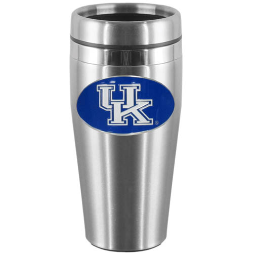 Kentucky Steel Travel Mug - Show off your school pride with this 14 oz stainless steel lidded travel mug with brushed finish. The mug features a cast & enameled Kentucky Wildcats emblem. Thank you for shopping with CrazedOutSports.com