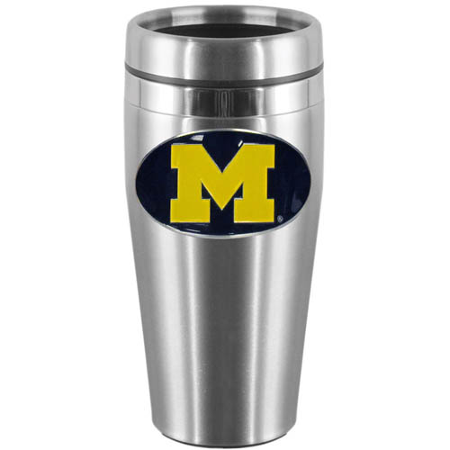 Michigan Wolverines 14 oz Stainless Steel Travel Mug - Show off your school pride with this Michigan Wolverines 14 oz Stainless Steel Travel Mug with brushed finish. The Michigan Wolverines 14 oz Stainless Steel Travel Mug features a cast & enameled Michigan Wolverines emblem and lid. Thank you for shopping with CrazedOutSports.com
