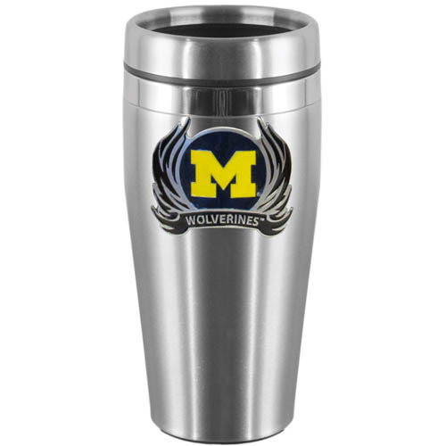 Michigan Wolverines Flame 14 oz Stainless Steel Travel Mug - Show off your school pride with this Michigan Wolverines Flame 14 oz Stainless Steel Travel Mug with brushed finish. The Michigan Wolverines Flame 14 oz Stainless Steel Travel Mug with lid features a cast & enameled Michigan Wolverines emblem. Thank you for shopping with CrazedOutSports.com